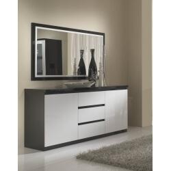 Buffet/bahut design laqué blanc et noir Krista