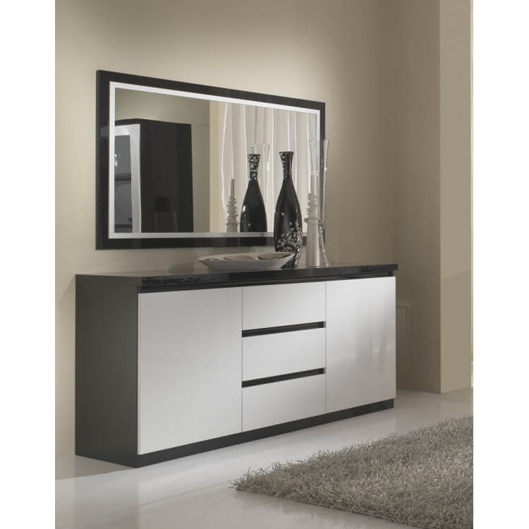 Buffet/bahut design laqué blanc et noir Krista | Matelpro