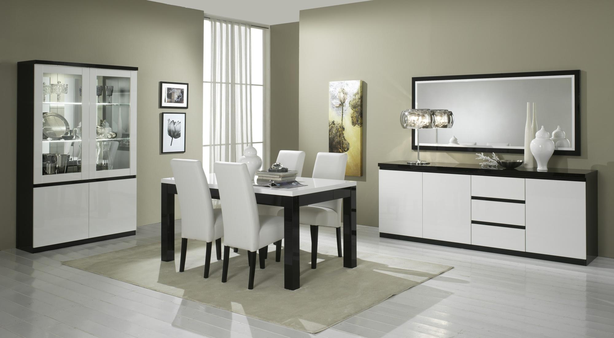 miroir rectangulaire de salle manger design laqu blanc et noir krista matelpro