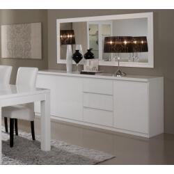 Miroir de salle à manger rectangulaire design laqué blanc Cristal