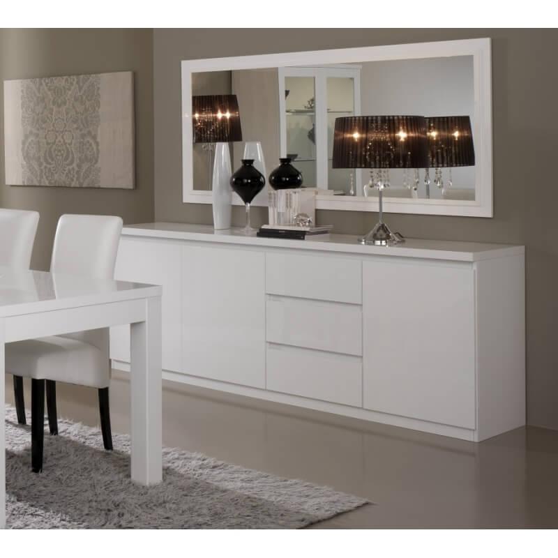 Miroir de salle à manger rectangulaire design laqué blanc Cristal ...