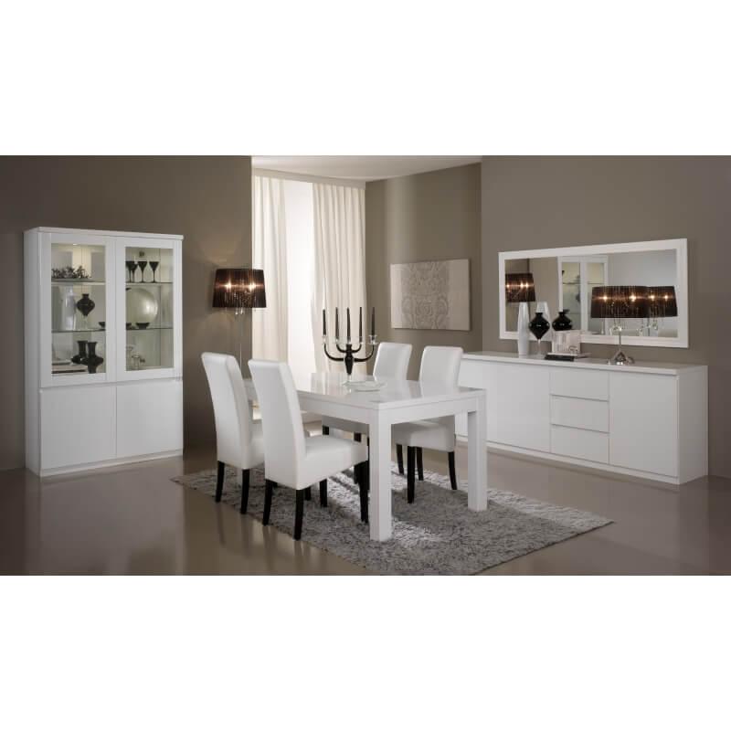 Miroir de salle manger rectangulaire design laqu blanc - Salle a manger blanc laque pas cher ...