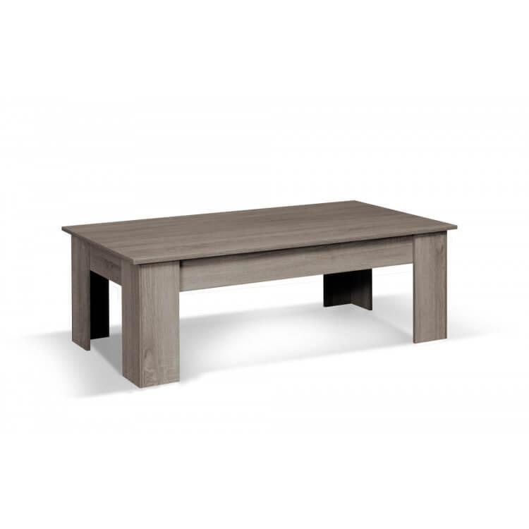 Chêne Rectangulaire Contemporaine Table Nero Basse Gris Qshtrd