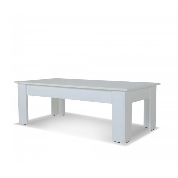 Table Basse Rectangulaire Design Laquée Blanche Camilla