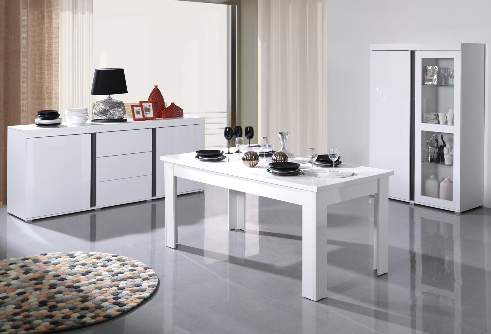 Salle manger design gris blanc laqu camilla matelpro - Salle a manger blanc laque ...