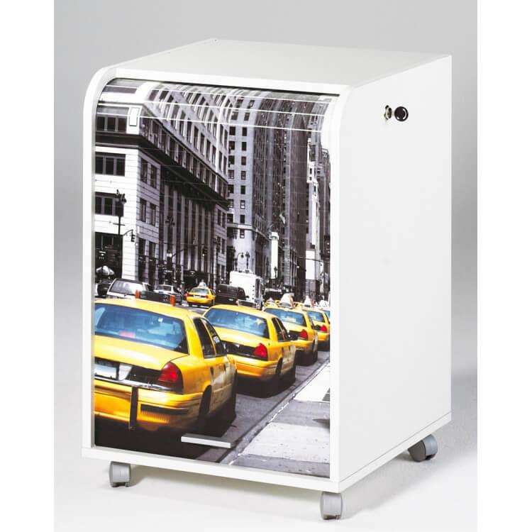 Caisson de bureau à rideau design blanc New york