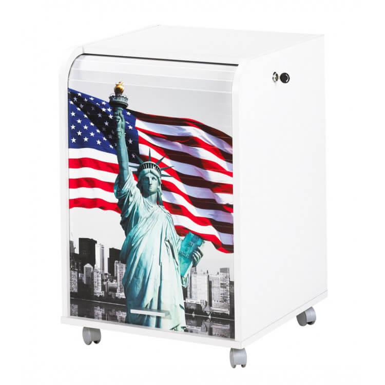 Caisson de bureau à rideau design blanc Liberty