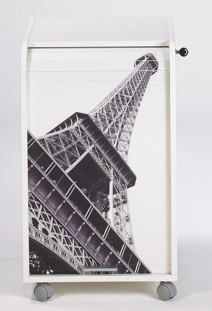 Caisson de bureau à rideau design blanc Tour Eiffel