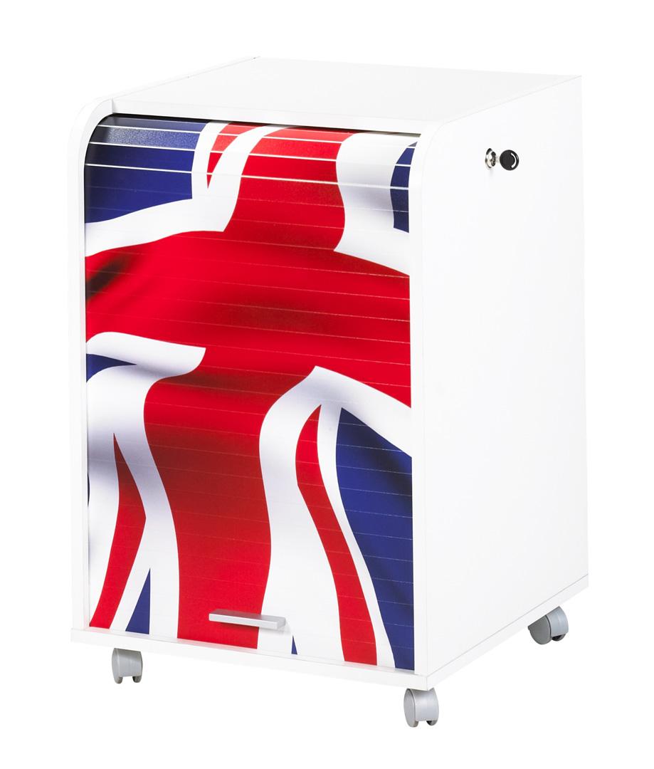 Caisson de bureau à rideau design blanc London