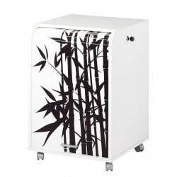 Caisson de bureau à rideau design blanc Bambou