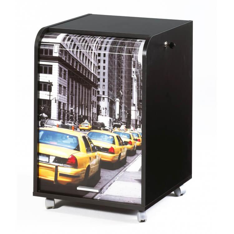 Caisson de bureau à rideau design noir  New york