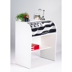 Bureau informatique à rideau design blanc Breitz