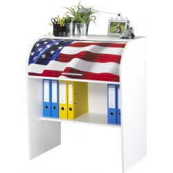Bureau informatique à rideau design blanc States