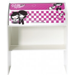 Bureau informatique à rideau design blanc Girly