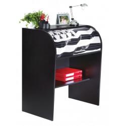 Bureau informatique à rideau design noir Breitz