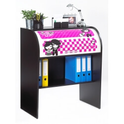 Bureau informatique à rideau design noir Girly