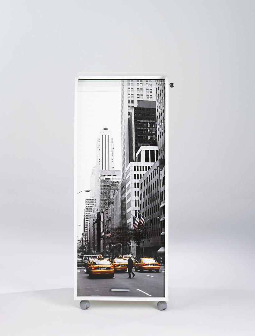 Caisson de bureau mobile à roulettes design blanc New York