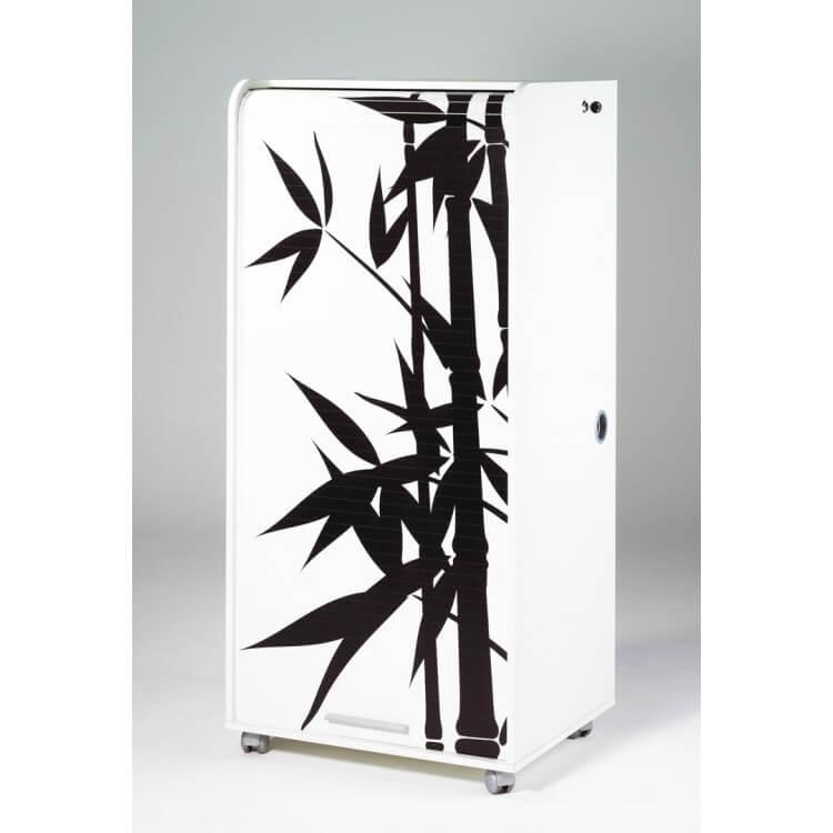 Bureau secrétaire informatique design blanc imprimé Bambou Elissa