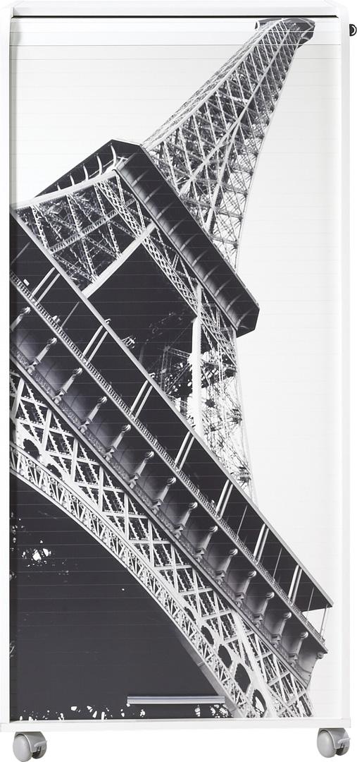 Bureau secrétaire informatique design blanc imprimé tour Eiffel Elissa