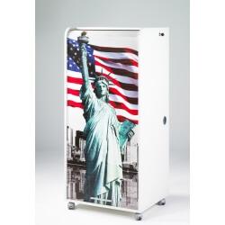 Bureau secrétaire informatique design blanc imprimé Statue de la Liberté Elissa