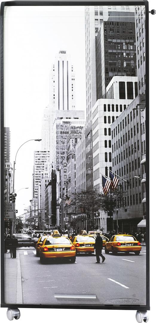 Bureau secrétaire informatique design noir imprimé Manhattan Elissa