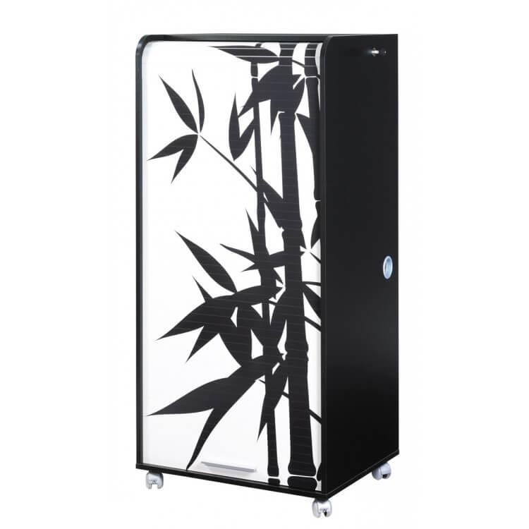 Bureau secrétaire informatique design noir imprimé Bambou Elissa