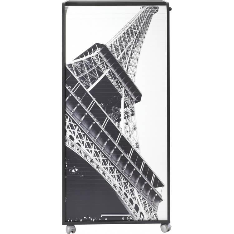 Bureau secrétaire informatique design noir imprimé tour Eiffel Elissa