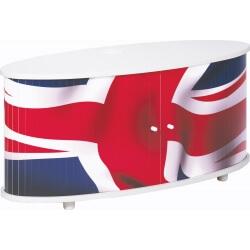 Meuble TV design blanc imprimé drapeau Diabolo