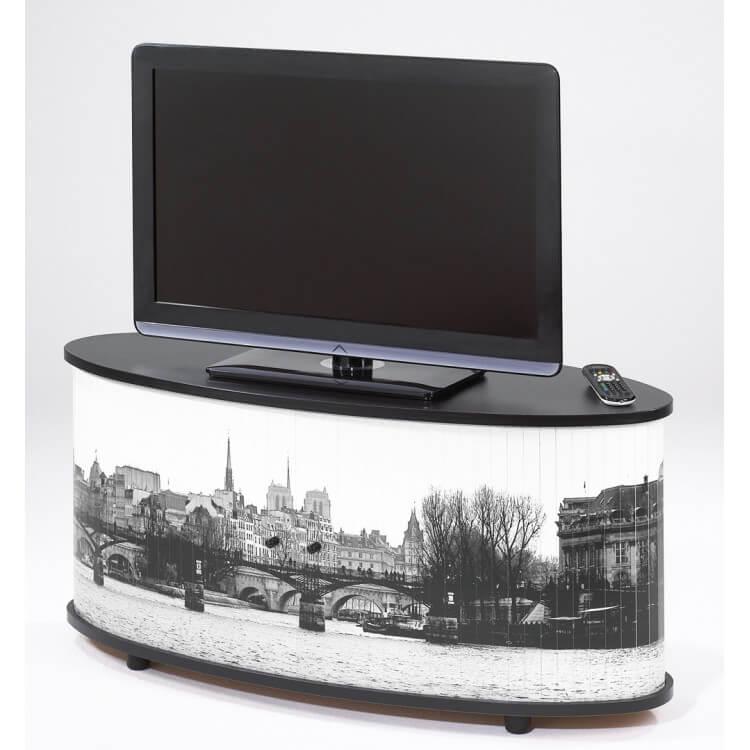 Meuble Tv Design Noir Imprime Paris Diabolo