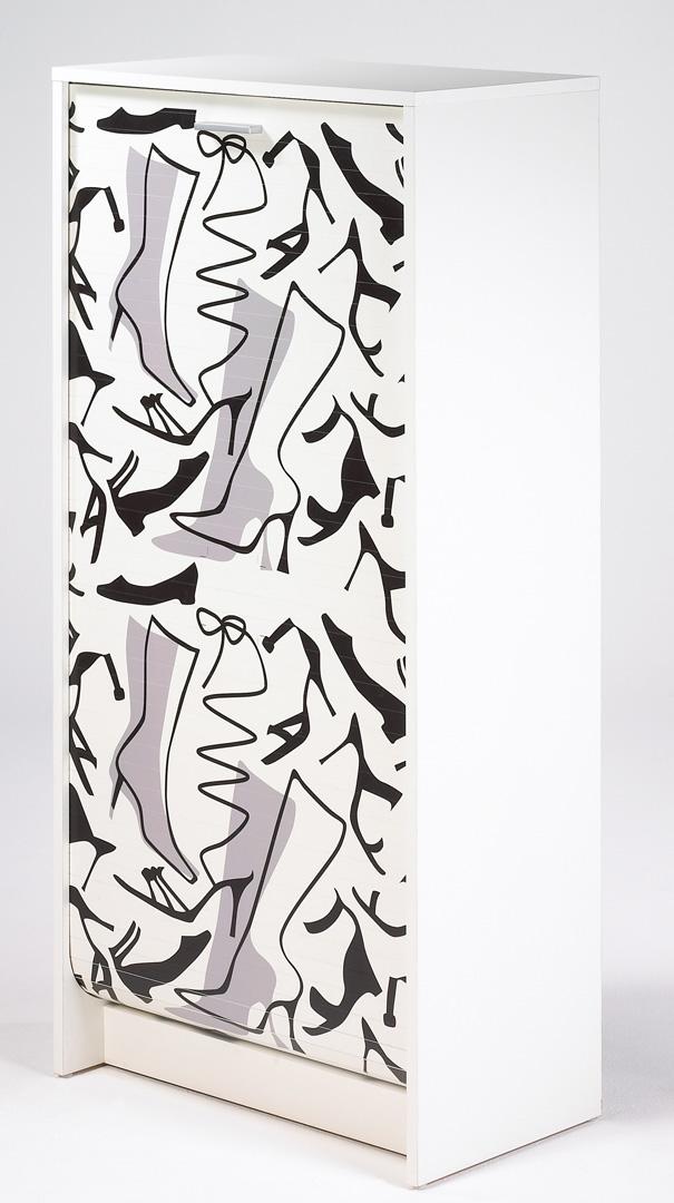 Meuble à chaussures à rideau design blanc imprimé Botte Shooter