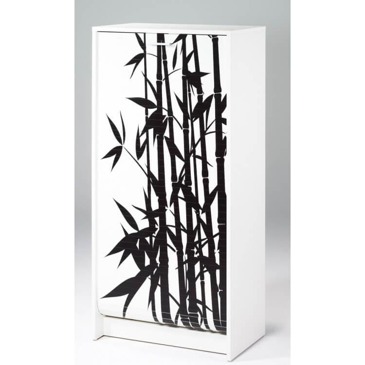 Meuble à chaussures à rideau design blanc imprimé Bambou Shooter