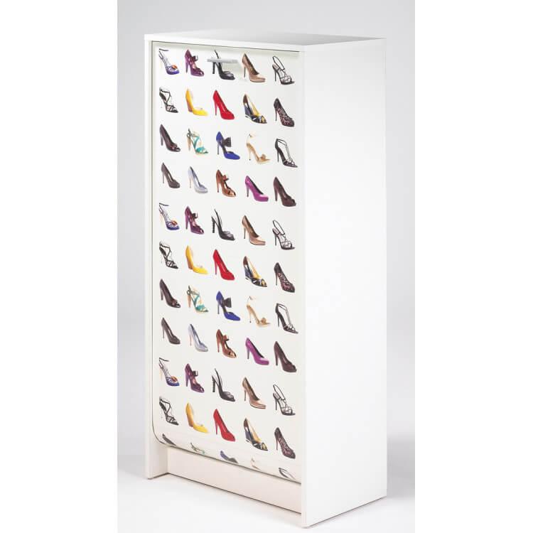Meuble à chaussures à rideau design blanc imprimé Talon Shooter