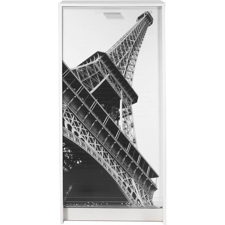 Meuble à chaussures à rideau design blanc imprimé Tour Eiffel Shooter