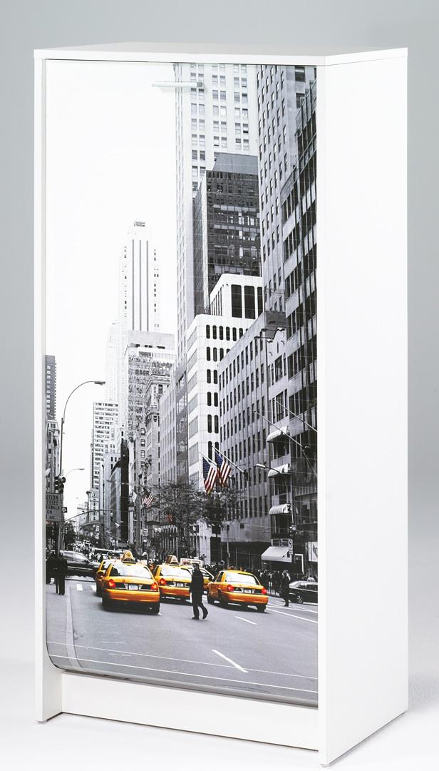 Meuble à chaussures à rideau design blanc imprimé New York Shooter