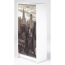 Meuble à chaussures à rideau design blanc imprimé Vue de New York Shooter