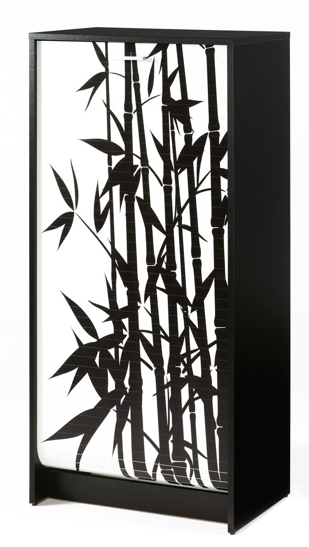 Meuble à chaussures à rideau design noir imprimé Bambou Shooter