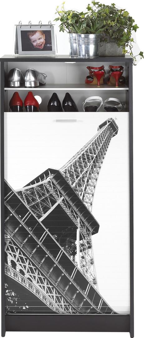 Meuble à chaussures à rideau design noir imprimé Tour Eiffel Shooter