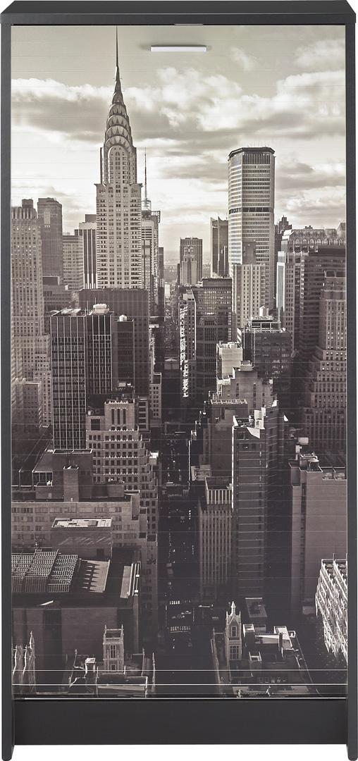 Meuble à chaussures à rideau design noir imprimé Vue de New York Shooter
