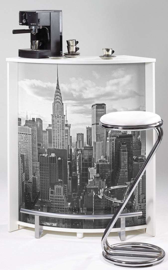 Bar design blanc imprimé New York Vision