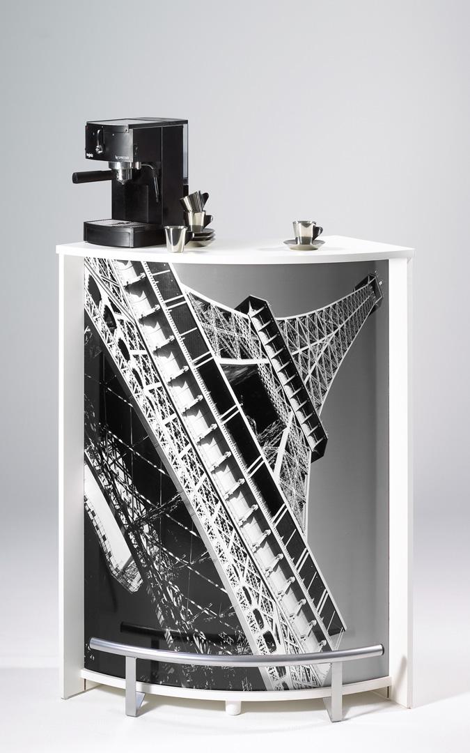 Bar design blanc imprimé Tour Eiffel Vision