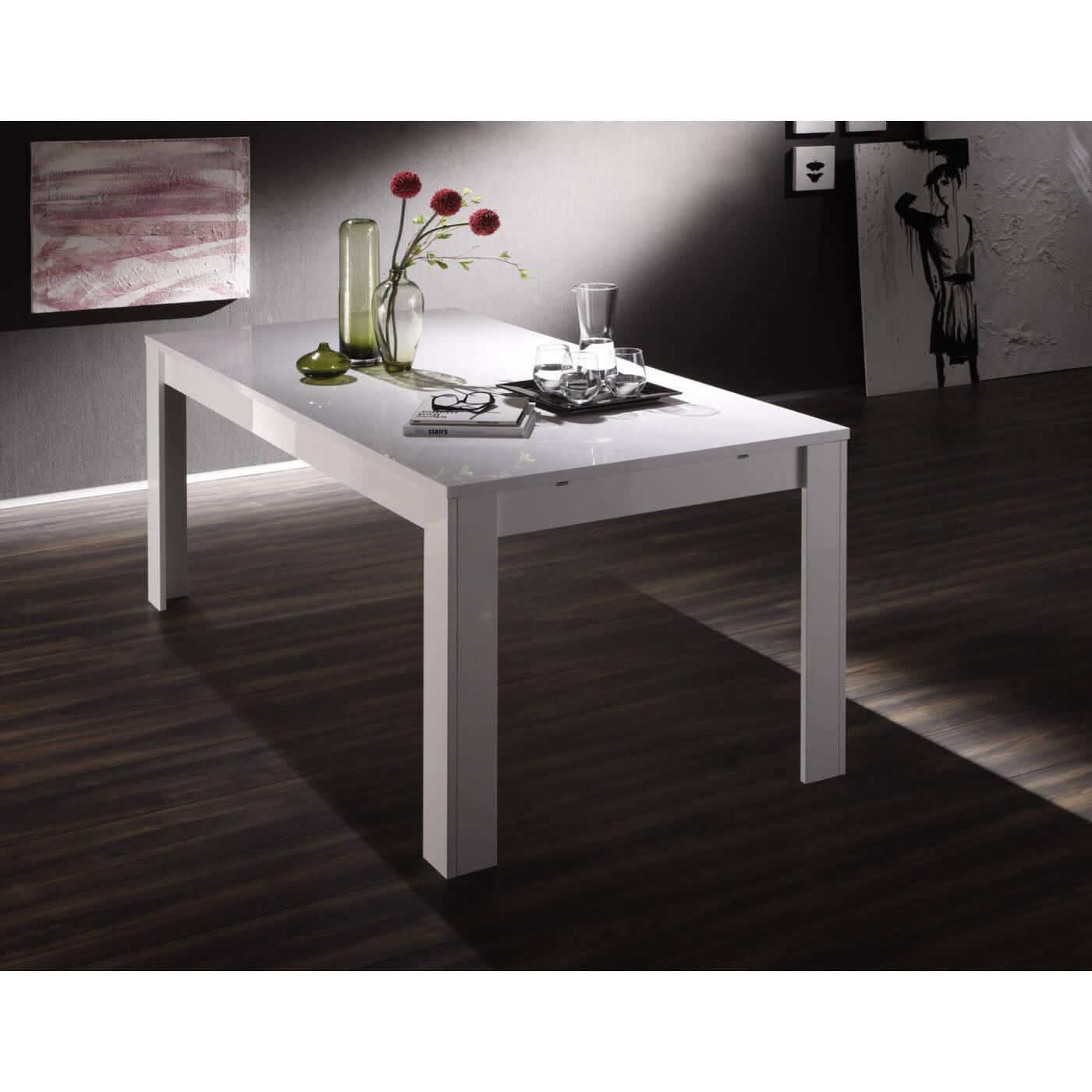 Table de salle manger design laqu blanc judy matelpro - Table salle a manger design ...