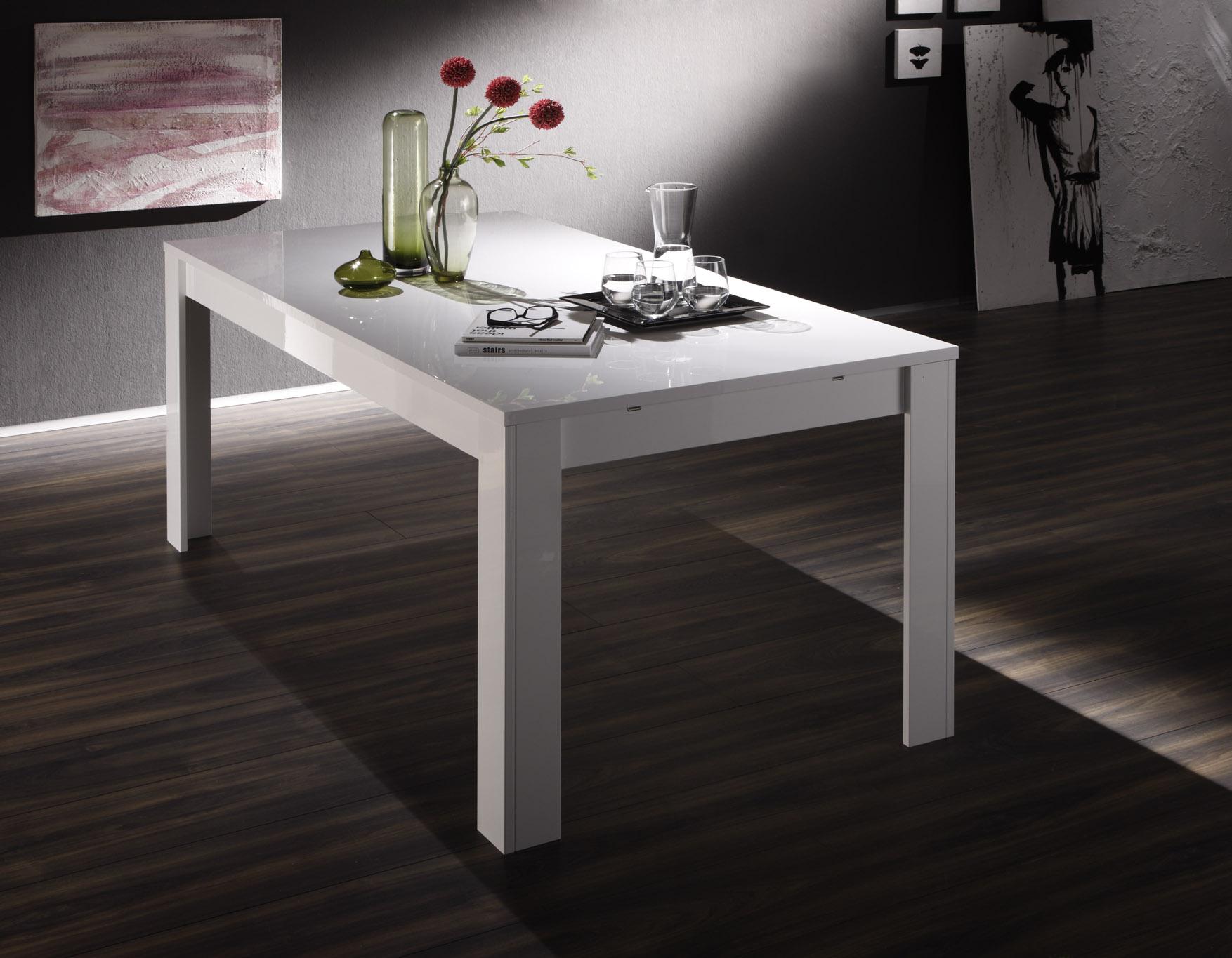Table de salle manger design laqu blanc judy matelpro - Table salle a manger design blanc laque ...