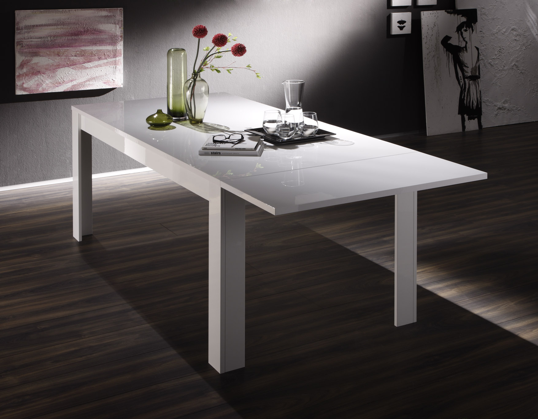 Table de salle manger design laqu blanc judy matelpro for Table de salle a manger design