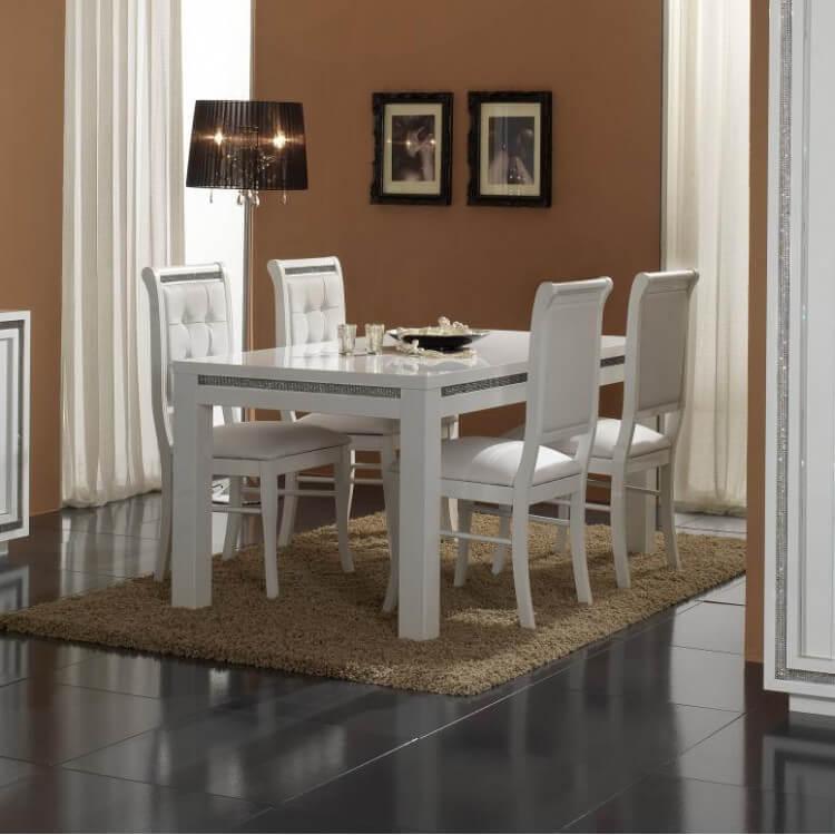 Table De Salle A Manger Rectangulaire Design Laquee Blanche Perla