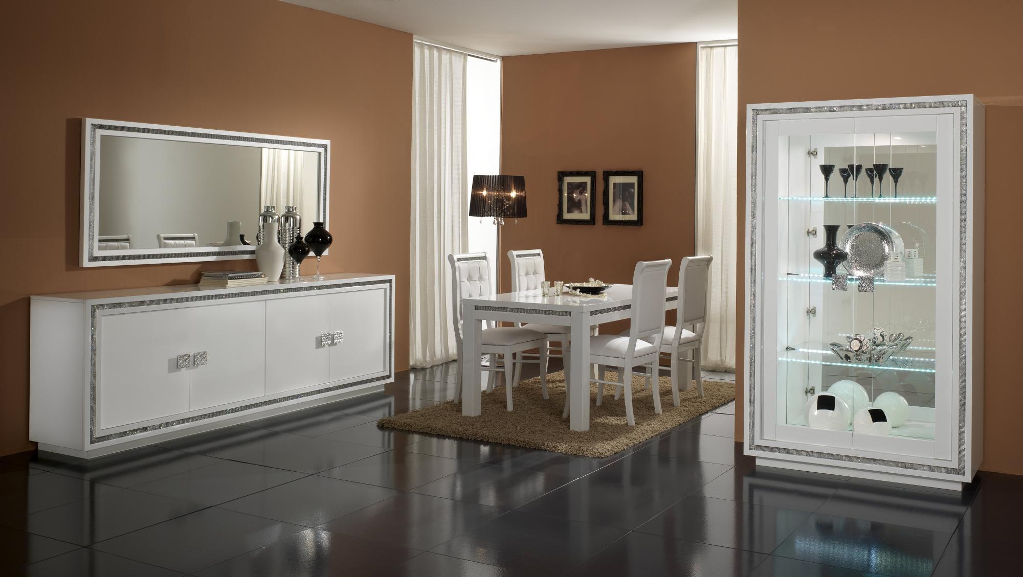 Salle à manger complète design laquée blanche Perla