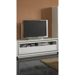 Meuble TV design laqué blanc Perla