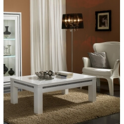 Table basse rectangulaire design laquée blanche Perla