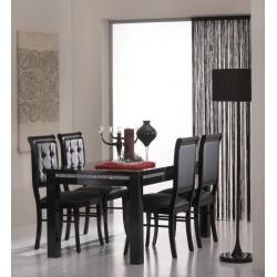 Table de salle à manger rectangulaire design laquée noire Sylvana