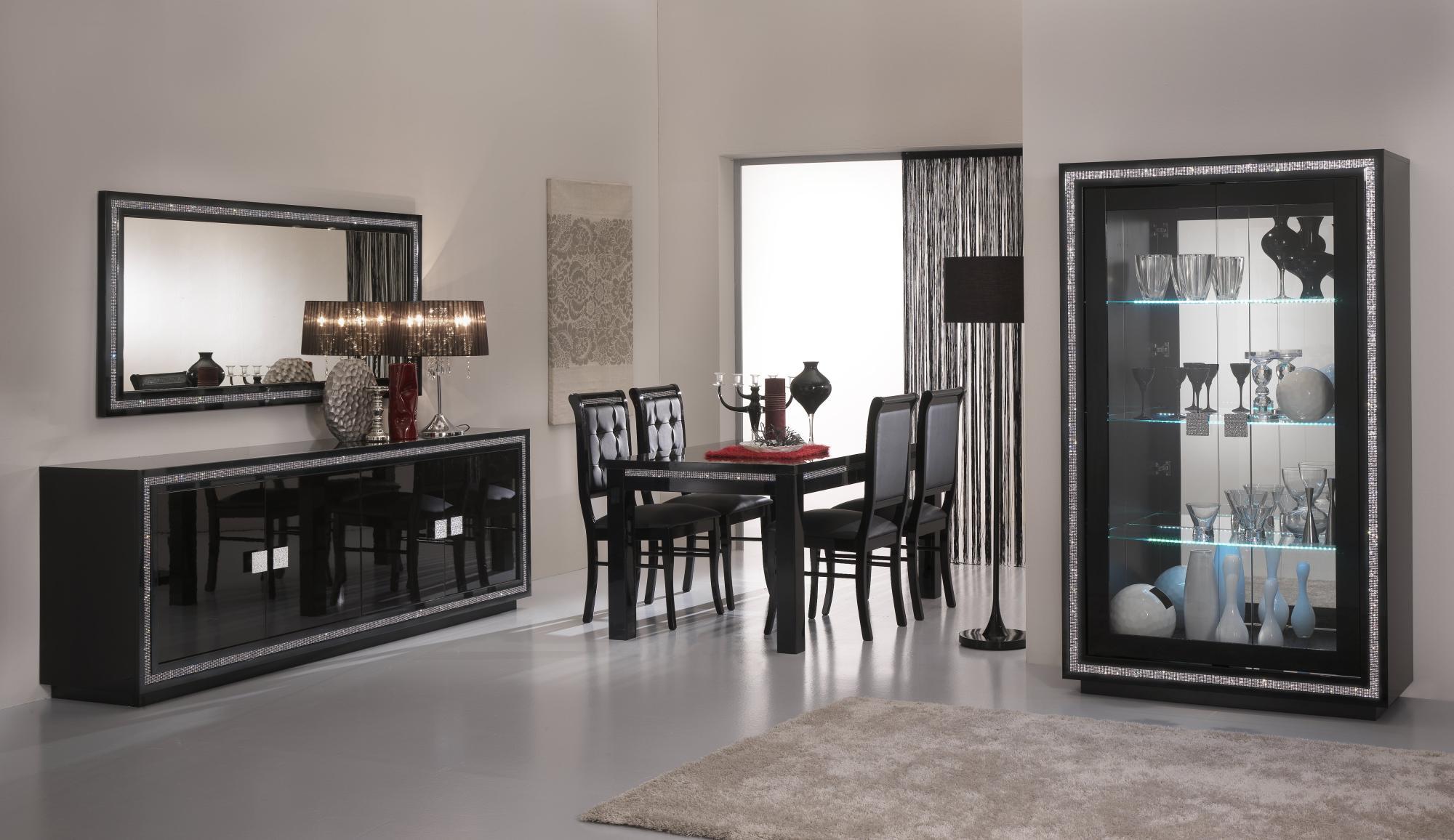 Salle à manger complète design laquée noire Sylvana