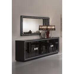 Miroir de salle à manger rectangulaire design laqué noir Sylvana